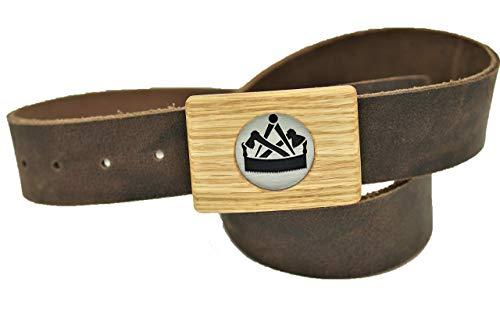 Gürtel Zimmerer Zimmermann - Handmade 40mm Ledergürtel - Gürtelschnalle aus Holz Eiche - Die Geschenkidee für Handwerk und Zunft - Geschenk - braun - schwarz