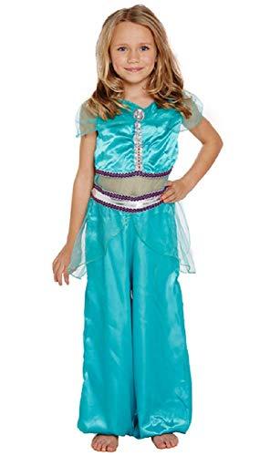 Filles Princesse Arabe Harem Livre Jour Jasmin Costume Déguisement 4-12 Ans - Bleu, 10-12 Years