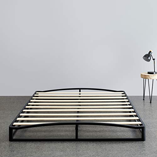 Amazon Basics 6quot Modern Metal Platform Bed with Wood Slat Support  Mattress Foundation  No Box Spring Needed Queen