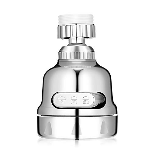 AMENER Movable Flexible Kitchen Tap Head With Filter Moveable 360 degree Rotable Swivel Water Saving Faucet Diffusser Water Purifier With M22 M24 Fitting (Silver)