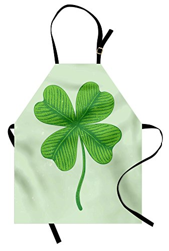 Lunarable Shamrock Apron, Grunge Effect with 4 Leaf Lucky Celtic Clover Irish Folklore Motif, Unisex Kitchen Bib Apron with Adjustable Neck for Cooking Baking Gardening, Green and Pale Green