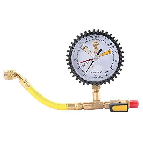 Tamkyo Indicador de PresióN, Aire Acondicionado RefrigeracióN Prueba de PresióN de NitróGeno VáLvula de Bola Adecuada para R134A, R22, R407C, R410A