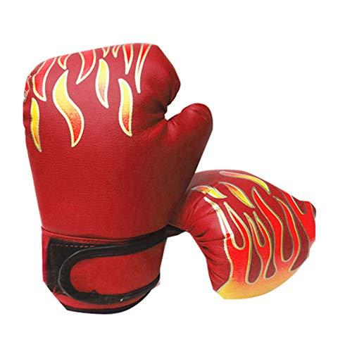 pnxq88 Guantes Boxeo Entrenamiento Ajustable Cuero PU Ergonómico Niños Punzonado Lucha Infantil Sparring Kickboxing Accesorio Deportivo Muay Thai Duradero(Rojo)