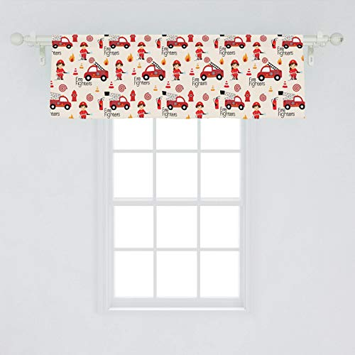 Lunarable Fire Truck Window Valance, Little Boys and Girls in Uniforms Fire Fighters Theme Career Profession Pattern, Curtain Valance for Kitchen Bedroom Decor with Rod Pocket, 54' X 18', Red Cream