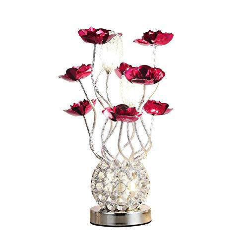 Vase Table Lamp - Modernes Dekor Aluminium Flower Lights G4 LED 3x2W, Gestell aus verchromtem Nachttisch Schreibtischlampen Tischleuchte für Wohnzimmer, Schlafzimmer ( Color : Sliver*Red )