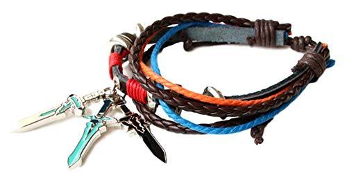 GK-O Anime Sword Art Online SAO Leather Bracelet MutiLayer Bangel Cuff Bangle Wristband Cosplay Costume (Sword)