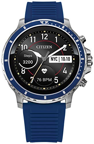 Citizen CZ Smart 46mm Stainless Steel Smartwatch Touchscreen, Heartrate, GPS, Speaker, Bluetooth, Notifications, IPHONE and Android Compatible, Powered by Google Wear OS