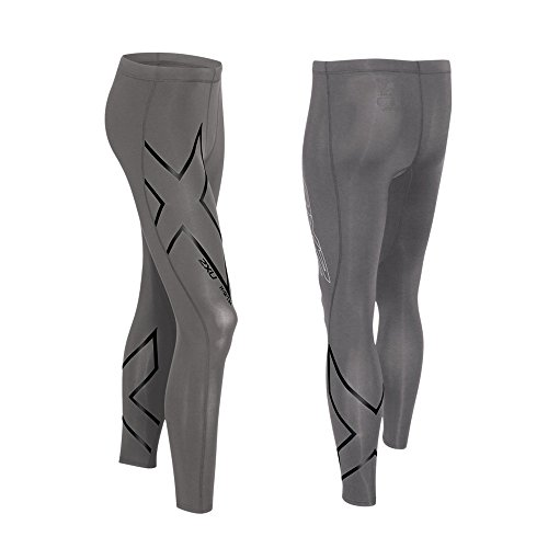 2XU Mens Hyoptik Compression Tights, Steel/black Reflective, Medium