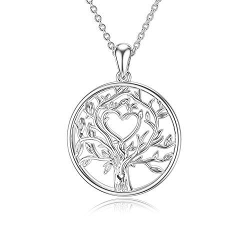 ROMANTICWORK Collar con colgante de árbol de la vida, plata de ley 925, diseño de árbol de la familia, regalo de Navidad, cumpleaños para mujeres, niñas, esposa y madre.