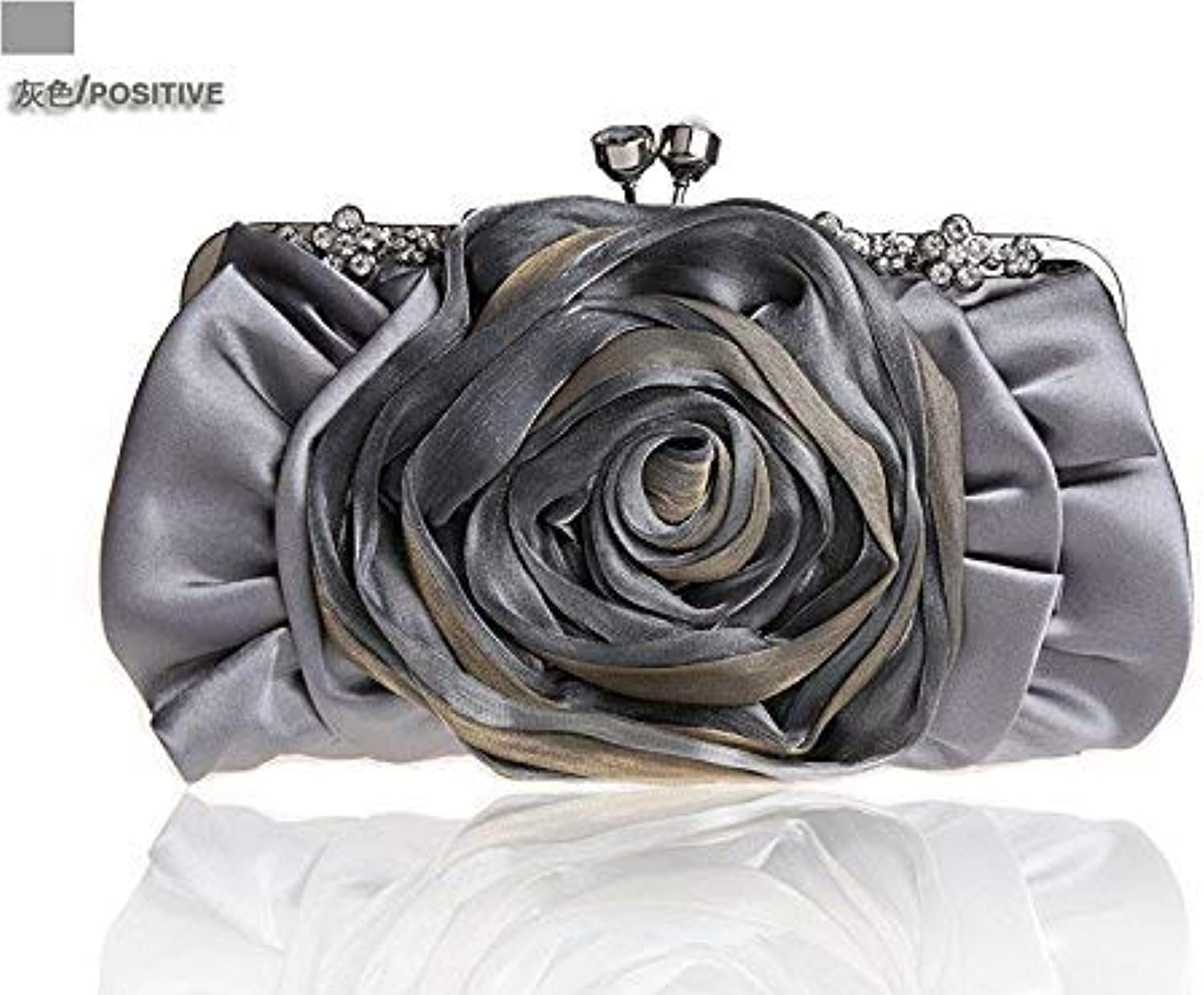 Ladies Handbag The Package of The Packagecolor Flowers Package Dinner Package Bridal Packages Wedding Packages Silk Women's Handbags, CrossPartyStyle SmallPackage (color   Grey)
