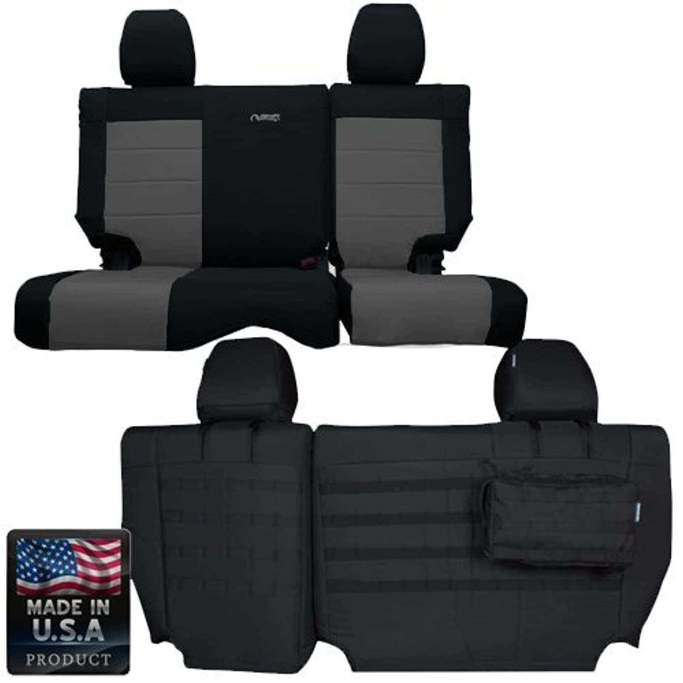 Bartact BTJKSC0810R4BG - 2008-2010 Jeep Wrangler JK 4-Door - Black/Graphite Mil-Spec with MOLLE System Rear Bench Seat Covers