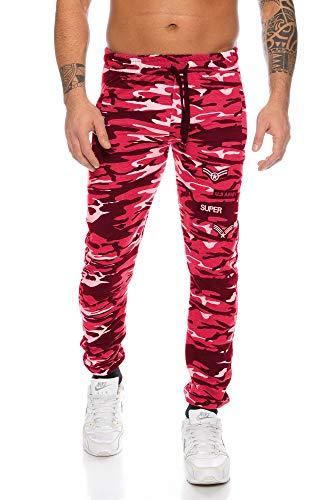 Raff&Taff Herren Sporthose Camouflage Hose Freizeithose Yogahose Sweathose Fußballhose Jogginghose (Rot(2906), XXL)