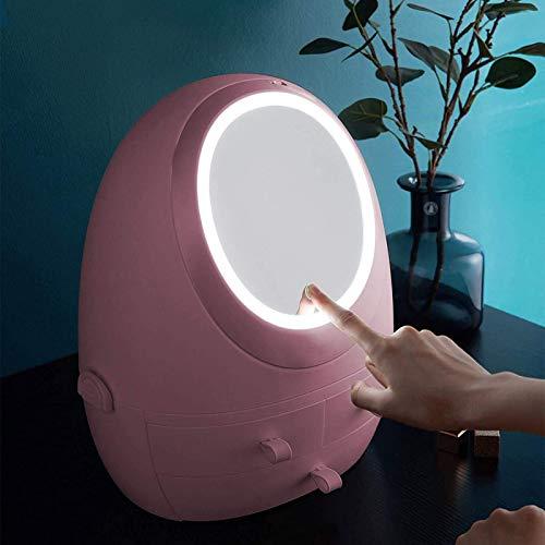 YZHM ROSA MASSUP Stand Organizer, Displaykästen mit LED Beleuchtet Spiegel, wasserdichter und staubdichter Schmuckaufbewahrungsbox für Kommode, Eitelkeit und Arbeitsplatte