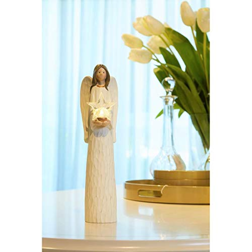 Mother Angels Figurines Holding Led Light Crystal Star with 6/8h Timer, Light Up Angel Express Memorial of Love One or Sympathy, Angel Statues and Figurines for Home Decor