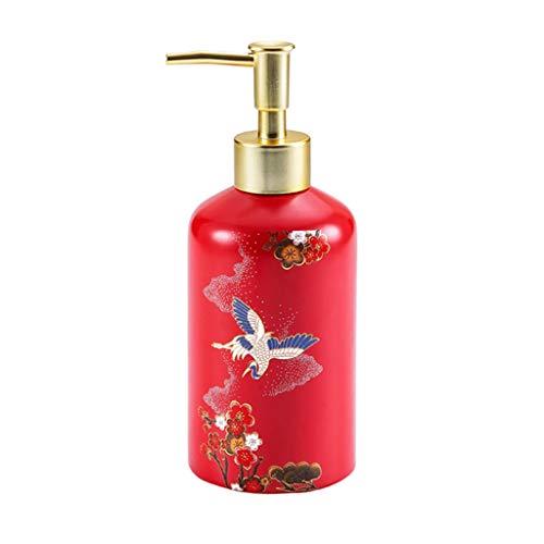 YHYH dispensador de jabón Dispensador De Jabón Líquido Aves Dispensador De Bomba con Bomba De Plástico Botella De Vidrio Recargable para Encimeras Regalo de Cocina (Color : Red)