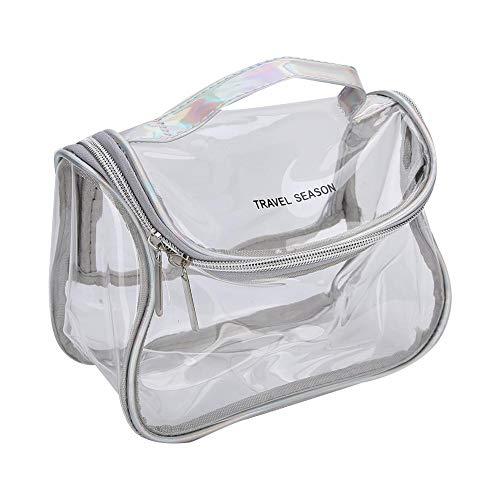 AMONIDA Multifunktionaler Kulturbeutel PVC-Make-up-Beutel, Doppellegierungs-Make-up-Etui, Einfacher Kulturbeutel(Silver Gray, Fang)