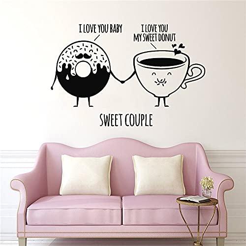Tienda de confitería Pastel de rosquilla de dibujos animados Taza de café Dulce pareja Amor Cotizaciones Etiqueta de la pared Calcomanía de vinilo Sala de estar Café Restaurante Cocina Decoración