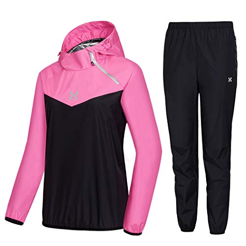 HOTSUIT Sauna Suit Women Weight Loss Boxing Gym Sweat Suits Workout Jacket, Rose Red, L