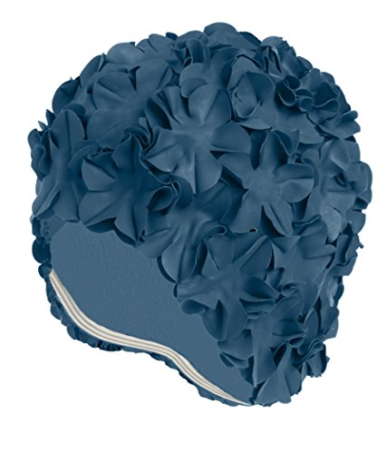 Latex Swim Cap - Women Stylish Swimming Cap Great for Ladies, Perfect to Keep Hair Dry - Suitable for Long Hair - Flowal Petal Vintage Style - Royal Blue