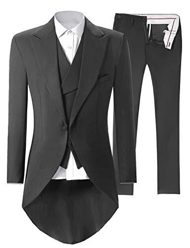 Tem Doger Baby Boys Formal Suit Toddler Gentleman Set Dress Slim Fit Long Sleeve Shirt+Blue Vest+Pants Outfits Tuxedo (100/18-24 Months, blue2)