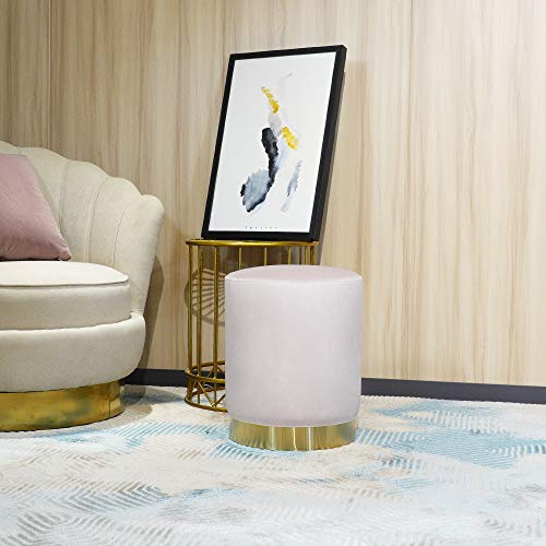 YUN JIN Juego otomano de 35 x 35 x 45 cm, reposapiés redondo de terciopelo, taburete moderno, práctico reposapiés para dormitorio y sala de estar (rosa)
