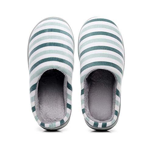 Bonita Zapatilla Interior cálida, Suave y cómoda de Invierno, par de Zapatillas de algodón a Rayas, Zapatillas cálidas de Felpa, Zapatillas Antideslizantes para Hombres y Mujeres-Verde Claro