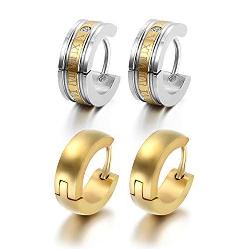 Flongo Men's Classic Biker Stainless Steel Engraved Roman Numerals Classic Polished Hoop Hinged Earrings for Christmas Valentine's Day Gift