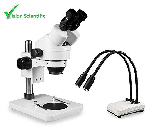 Vision Scientific VS-1E Binocular Zoom Stereo Microscope,Paired 10x Widefield Eyepiece, 0.7X—4.5X Zoom Range,7X—45x Magnification Range,Pillar Stand,LED Gooseneck Dual Light with Intensity Control