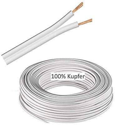 (1€/m) 5m LED Kabel Zwillingslitze 2x 0,75mm² Weiß 2-adrig, LED Leitung, 100% Kupfer OFC.!