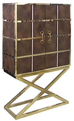 Casa Padrino Armario Bar de Lujo marrón/Oro 108 x 48 x A. 180 cm - Armario para vinos Noble con 2 Puertas - Muebles de Bar de Lujo