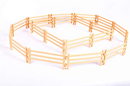 YUCAN 20PCS Toys Fence Horse Corral Fencing Accessories Playset, Plastic Garden Fence Toys Farm Animals Horses Figurines, Fence Panels, Paddock Toys, Cake Toppers for Kids (F-L)