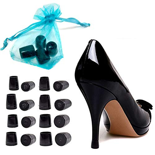 Heel Tips Jubapoz High Heel Replacement Tip Rubber Shoe Tips Hell Caps for Shoe Repair with Storge Bag, 8 Pairs - 4x XS, S, M, L for Shoe Repair
