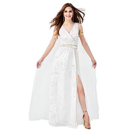 LOLANTA 5 STÜCKE Frauen Sexy Athene Göttin Kostüm Damen Halloween Grecian Toga Kostüm Königin Weißes Kleid (Medium(DE 36))