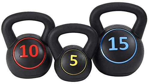 Sporzon! Wide Grip Kettlebell Exercise Fitness Weight Set, Includes 5 lbs, 10 lbs, 15 lbs, Multicolor