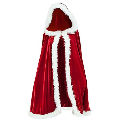 Adulto Bambino Babbo Natale Robe Mantello Incappucciato, Babbo Natale in Velluto Con Cappuccio Del Capo Di Natale Per Ragazze