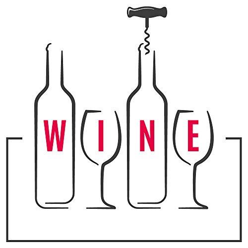 dekodino® Wandtattoo Küche Alkohol Weinflaschen und Weinglas Silhouette Deko