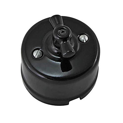 Kfdzsw Giratorio Interruptor Interruptor de luz de Porcelana Vintage Rotary con función de conmutador (Color : Black, Number of Gangs : 1 Gang)