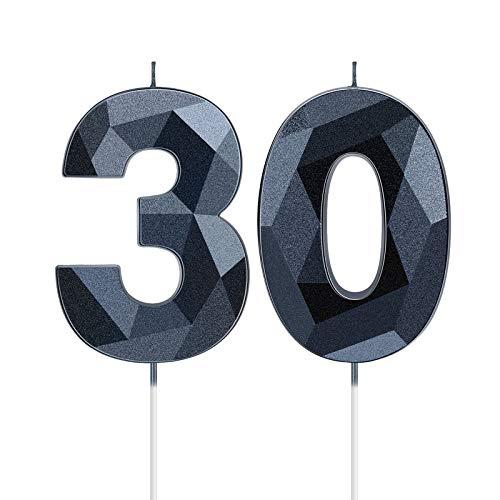 2 Pezzi Candele di Compleanno 30 Candele di Numero 30 a Forma di Diamante 3D Candele Numeriche a Topper per Torta di Compleanno per Forniture di Riunioni Festa a Tema Anniversario (Nero)