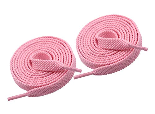 VSUDO Upgrade 43' Double Layer Weave Flat Shoelaces, 5/16' Wide Flat Shoe Laces for Adults & Kids Sneakers or Athletic Shoes [1Pair-Light Pink-110CM]