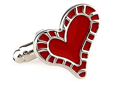 Silber und rote Herz Manschettenknöpfe in einer luxuriösen Präsentationsbox. Neuheit. Liebe....