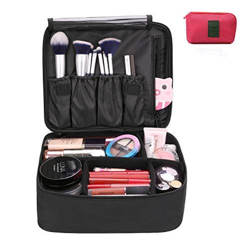 DIMJ Porta Trucchi da Viaggio, Borsa Trucco Professionale Beauty Case da Viaggio Impermeabile Portatile Borsa per Cosmetici per Uomo Donna con Borsa cavo USB (Nero)