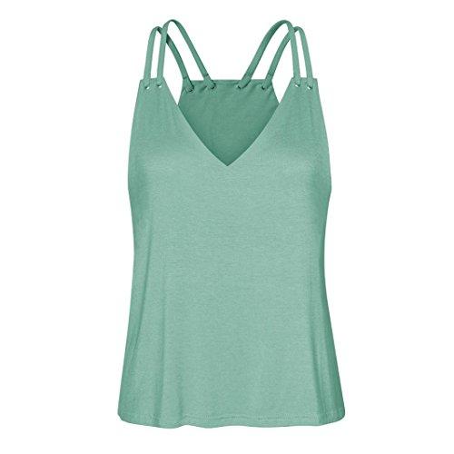 Gilet Femmes Toamen Gilet sans manches d'impression Chemisier Été Décontractée Tops à encolure en V T-shirt (XL, Menthe verte)