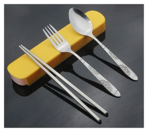 YSYSPUJ Cuberteria 3 unids/Set 3 en 1 Conjunto de Cubiertos Spoon Fork Chopticks de Viaje de Acero Inoxidable Kits de vajilla con Caja de vajilla de Caja pliva