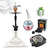 Shisha-Set mit Shisha Amy Deluxe Globe klick, Kohleanzünder, Naturkohle, Kaminkopf, Dampfsteine (R-Clear/Schwarz-Matt)