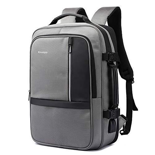 Xnuoyo 17.3 Zoll Erweiterbar Anti-Diebstahl Laptop Rucksäcke Koffer TSA Freundlich Wasserdicht Backpack Handgepäck Schultasche (Grau)