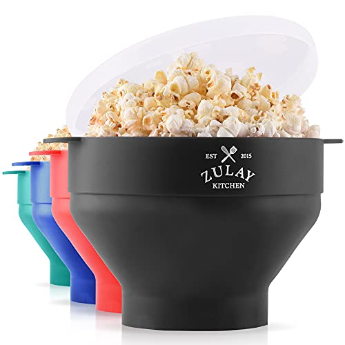 Zulay Kitchen Large Microwave Popcorn Maker - BPA Free Silicone Popcorn Popper Microwave Collapsible Bowl With Lid - Family Size Microwave Popcorn Bowl - Various Colors Available (Black)