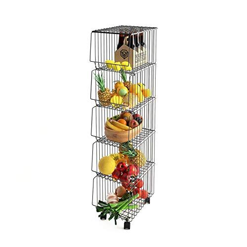 Mocosy Cesta de Alambre de Metal con Ruedas y Tapa, Estante de Utilidad apilable de 5 Niveles para Cesta de Frutas, contenedor Organizador de Almacenamiento para Cocina