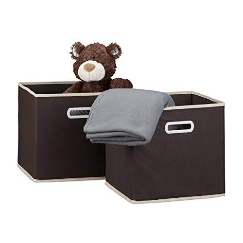 Relaxdays Faltbox 2er Set, quadratisch H x B x T 30 x 30 x 30 cm, Aufbewahrungsbox, Regalbox, braun
