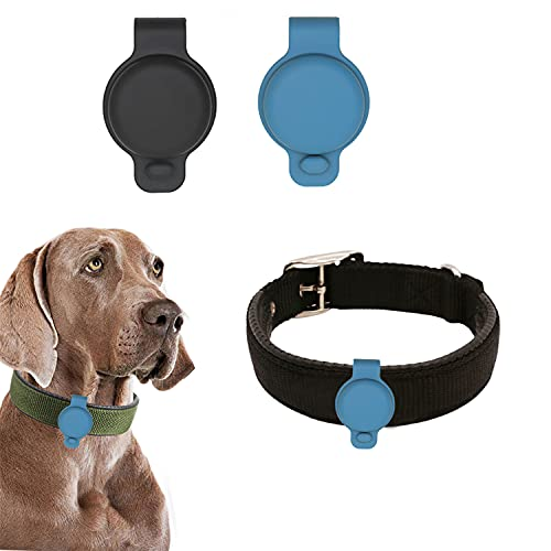 Funda protectora para Apple Airtags GPS Finder Scratch Pet Loop Holder Pet Silicona Anti-perdida Localizador Airtags para collar de mascotas/bolsas (2 x funda protectora+1 x collar de perro) (M, A)