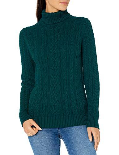 Amazon Essentials Fisherman Cable Jersey Cuello Alto Suéter, Verde Bosque, M